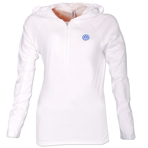 VW Ladies White 1/2 Zip Hood