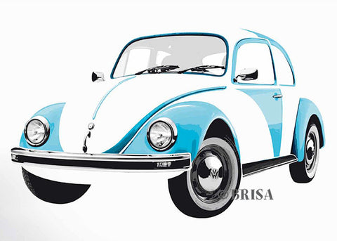 VW Beetle Wall Decal, Blue