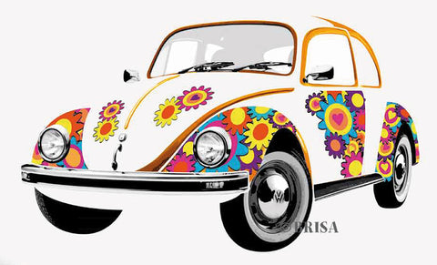 VW Beetle Wall Decal, Flower Power