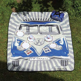 VW T1 Bus Picnic Blanket with Carrying Bag - Blue