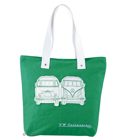 VW T1 Canvas Shopper Tote Bag Green