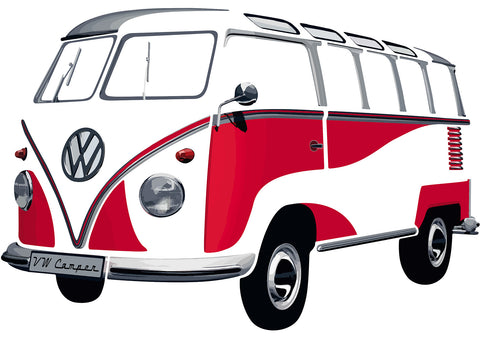 VW Bus Sticker - T1 Wall Decal Classic Red