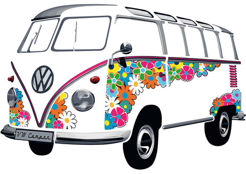 VW Bus Sticker - T1 Wall Decal Classic Flower