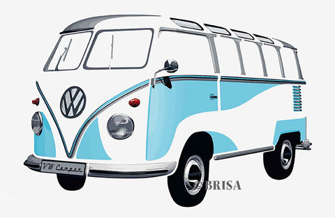 VW Bus Sticker - T1 Wall Decal Blue