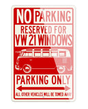 Volkswagen Kombi Bus Samba 21 windows Reserved Parking Only Sign