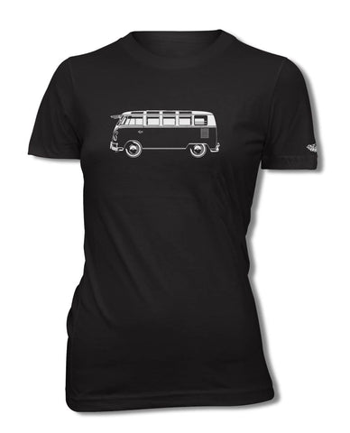 Volkswagen Kombi Bus Samba 21 windows T-Shirt - Women - Side View