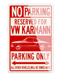 Volkswagen Karmann Ghia Coupe Reserved Parking Only Sign