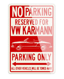Volkswagen Karmann Ghia Convertible Reserved Parking Only Sign