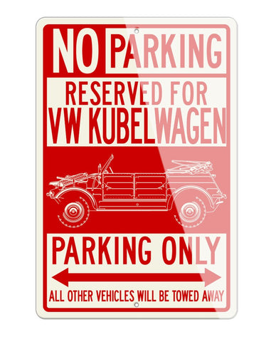Volkswagen Kübelwagen Type 82 Reserved Parking Only Sign