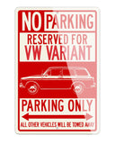 Volkswagen Type 3 Variant Reserved Parking Only Sign