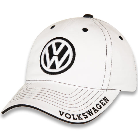 VW Hat, White with Black Volkswagen Logo