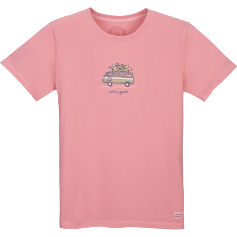 "Life is Good VW ""Jackie Getaway Van Go"" Women's T-shirt, Pink"
