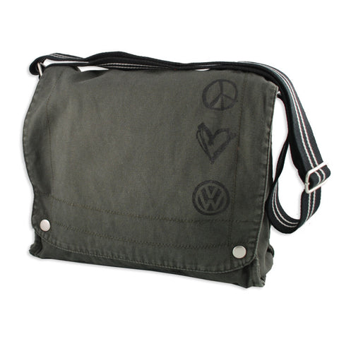 Peace Love VW Charcoal Canvas Bag