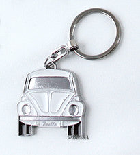 VW Beetle Key Ring White