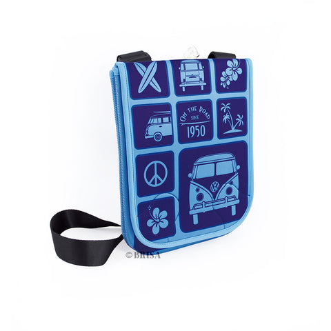VW Bus T1 Neoprene Shoulder Bag For Tablet- Blue