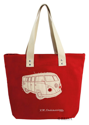 VW Bus T1 Canvas Tote Bag Red