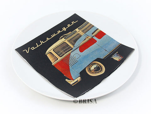 "VW Bus Design Napkin Set - ""Samba & Beetle"""
