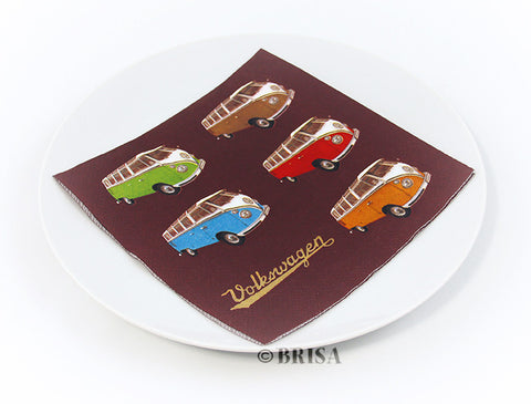 "VW Bus Design Napkin Set – ""Colored Samba"""