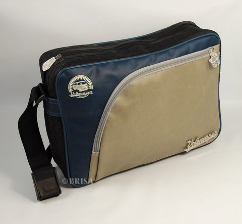 VW T1 Bus Vintage Look Messenger Bag With Tire Tread Edging - Blue/Beige