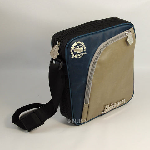 VW T1 Bus Vintage Look iPad Bag With Tire Tread Edging - Blue/Grey