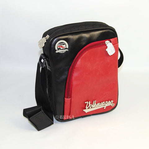 VW T1 Bus Vintage Look Small Bag With Tire Tread Edging - Black/Red