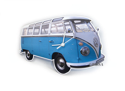 VW T1 Wall Clock Classic Blue