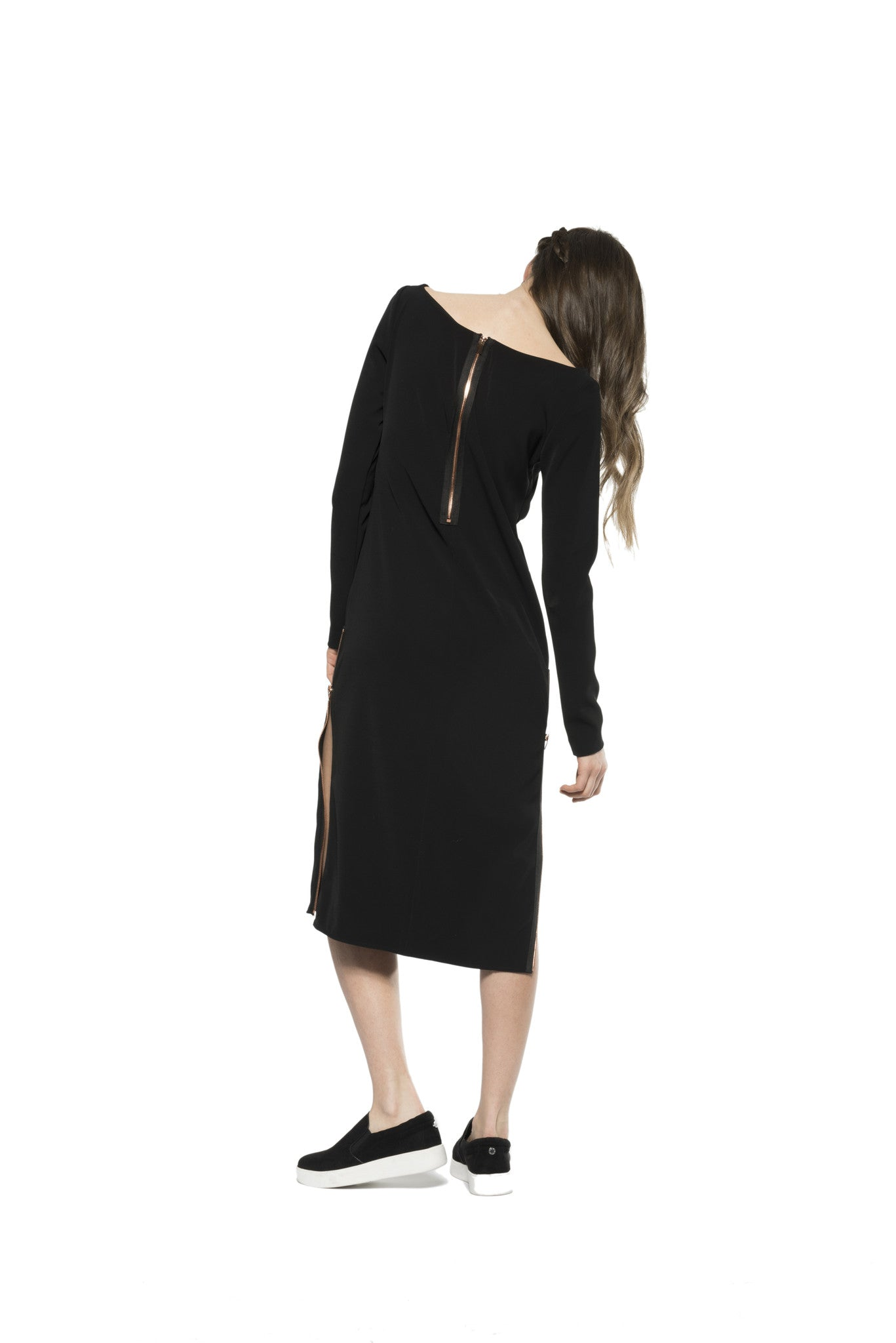 NOMAD VII - CHILAN DRESS WITH ROSE GOLD ZIPPERS - NOMAD VII X ANNE BOWEN