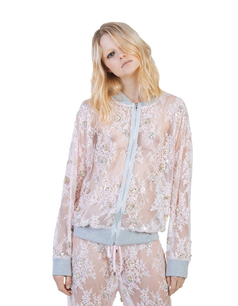 Nomad VII Limited Edition Chantilly Lace Swarovski Crystal Beaded Bomber Jacket - NOMAD VII X ANNE BOWEN