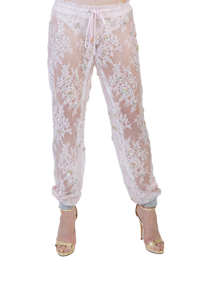Nomad VII Limited Edition Chantilly Lace Swarovski Crystal Beaded Jogger Pants - NOMAD VII X ANNE BOWEN
