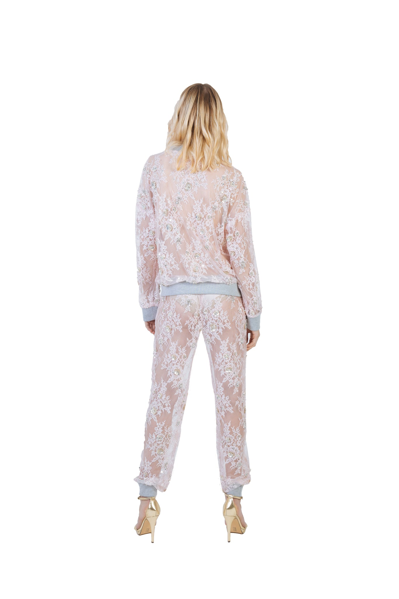 Nomad VII Chantilly Lace Swarovski Crystal Beaded Bomber Jacket - NOMAD VII X ANNE BOWEN