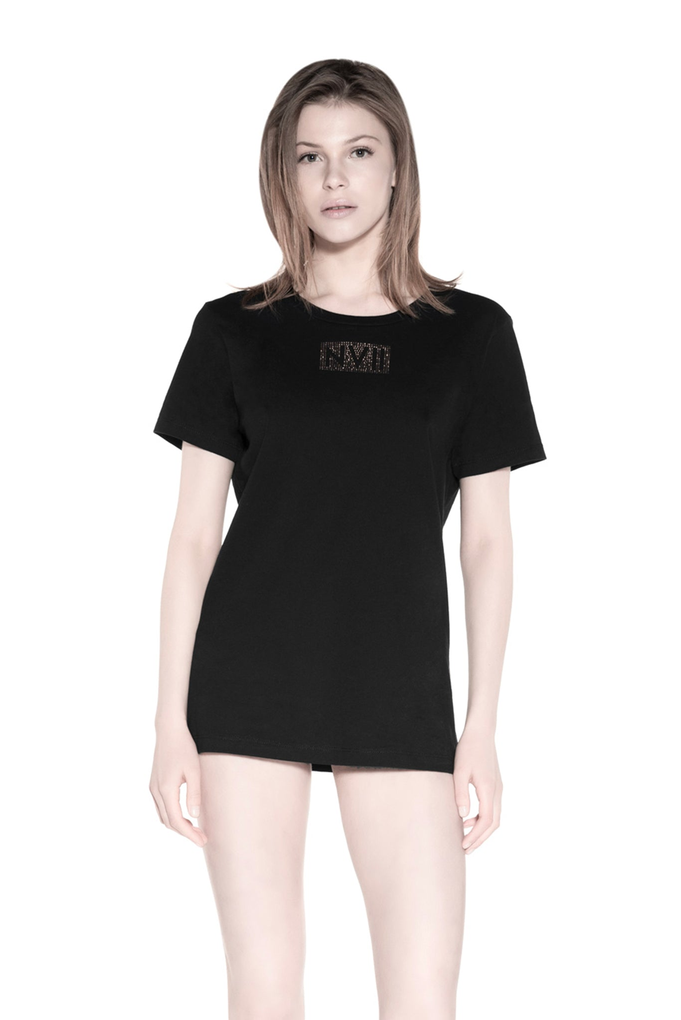 NOMAD VII - ROSE GOLD CRYSTAL NVII COTTON TSHIRT (SMALL LOGO) - NOMAD VII X ANNE BOWEN