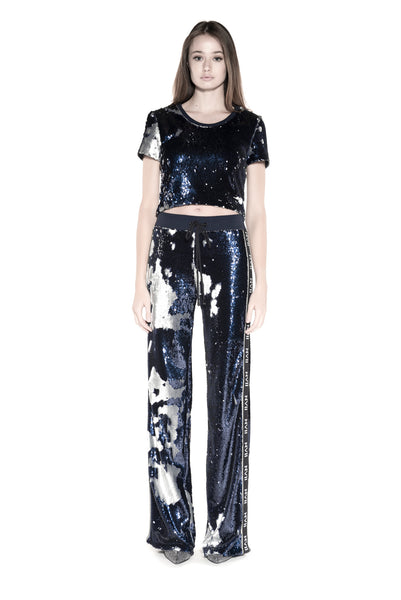 NOMAD VII - YAHTO BLUE & SILVER SEQUIN TRACK PANT - NOMAD VII X ANNE BOWEN