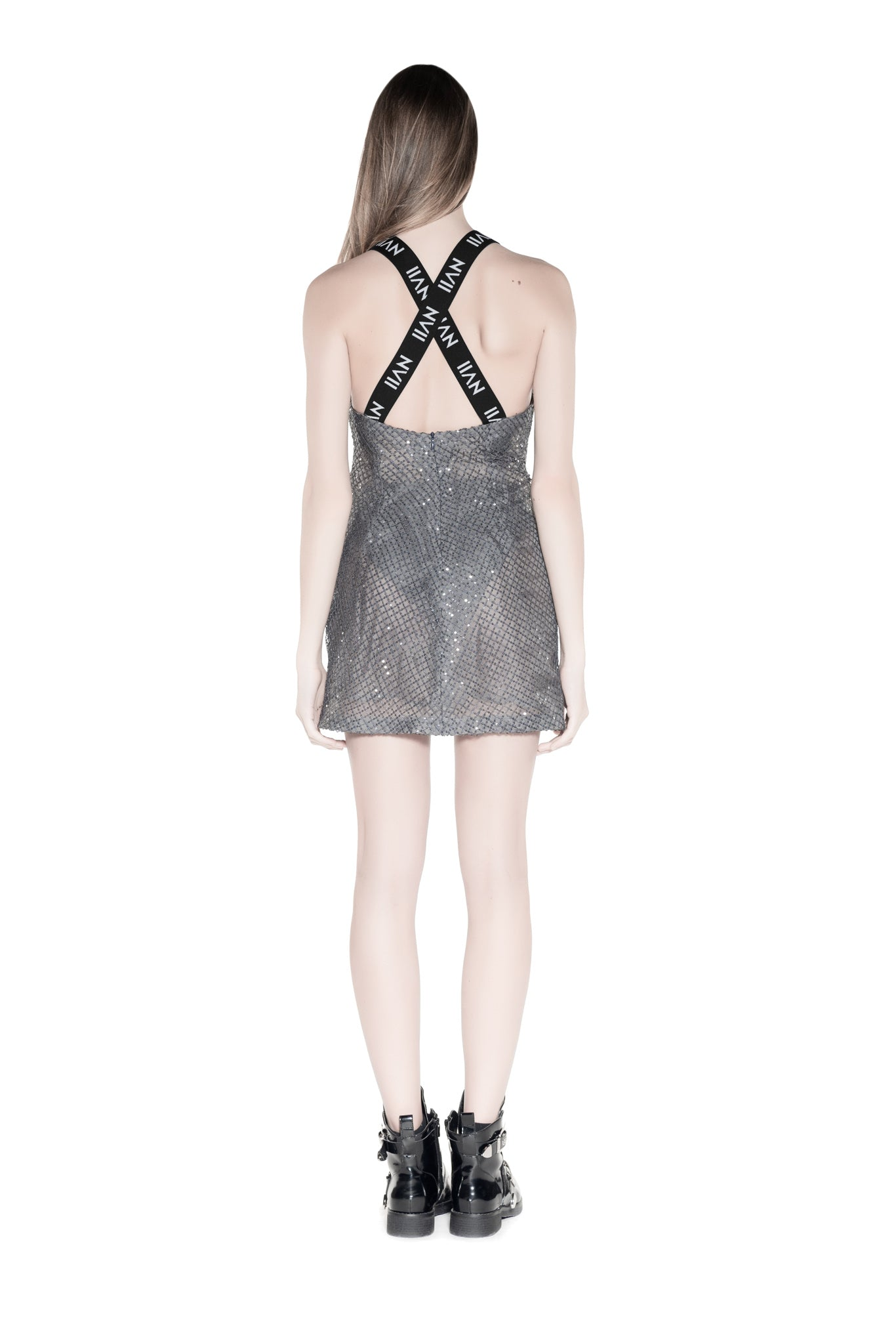 NOMAD VII - HUYANA GREY BEADED LACE HALTER DRESS - NOMAD VII X ANNE BOWEN