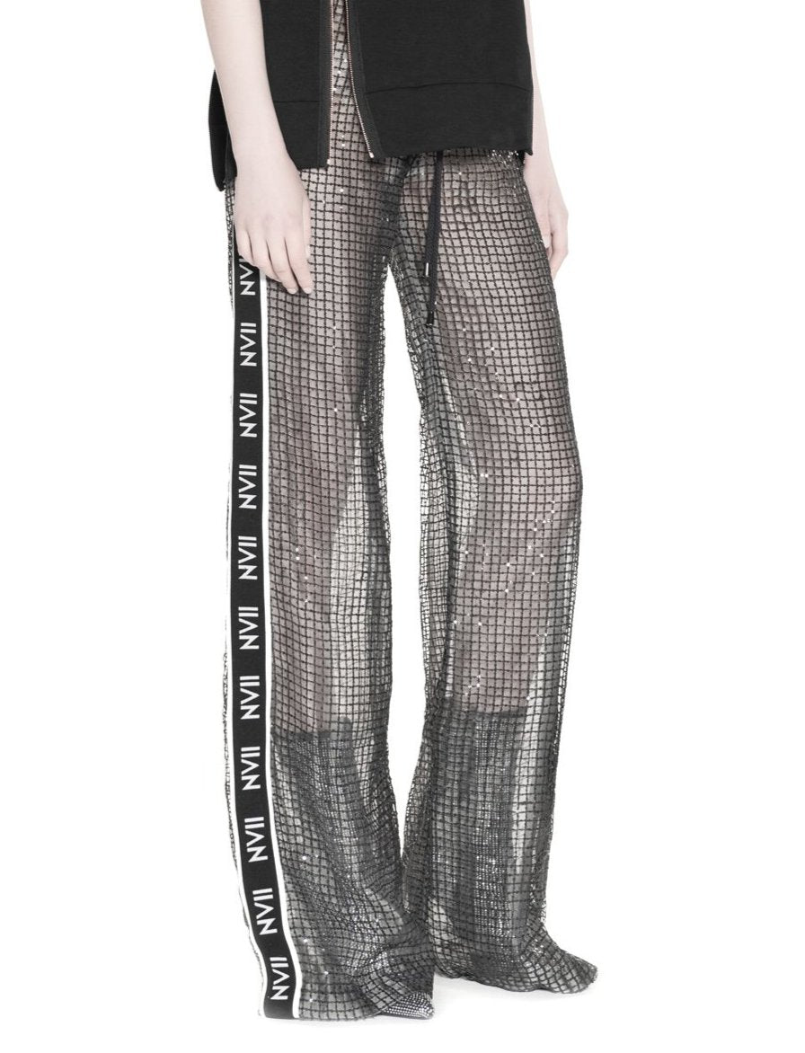 NOMAD VII - BLACK BEADED TRACK PANTS LINED IN SILK - NOMAD VII X ANNE BOWEN
