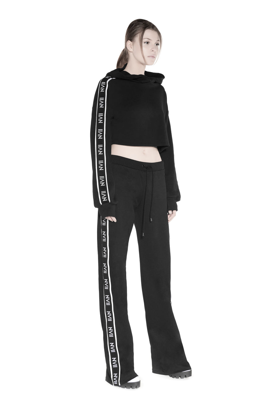 NOMAD VII - CHIGAN TRACK SUIT HOODED CROP TOP - NOMAD VII X ANNE BOWEN