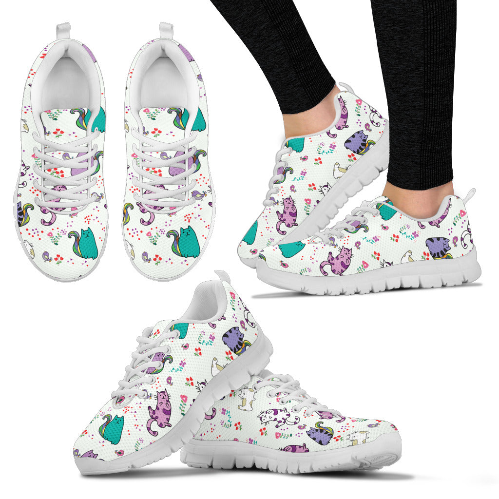 Cute Cat Sneakers (Women's) - Hello Moa