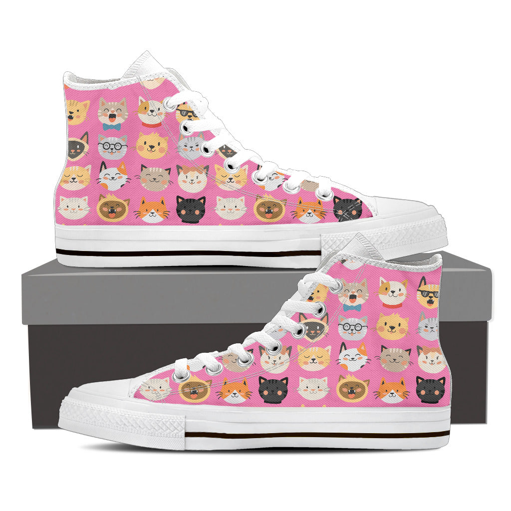 Pink Cat Faces High Tops (Women's) - Hello Moa