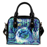 Blue Cat Shoulder Handbag