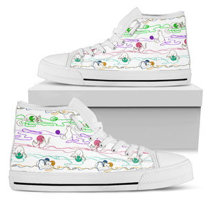 Cats & Wool Strings Canvas Hi Tops - Hello Moa