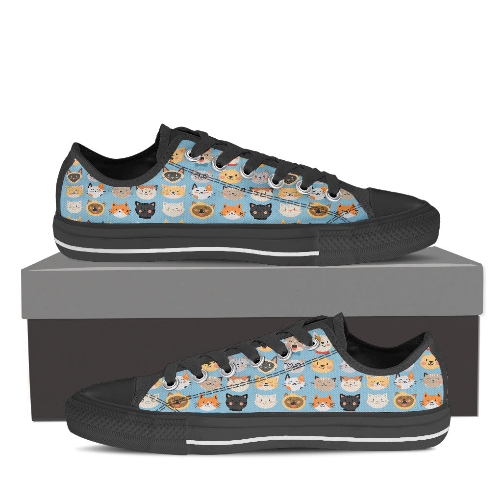 Blue Cat Faces Low Tops (Women's) - Hello Moa