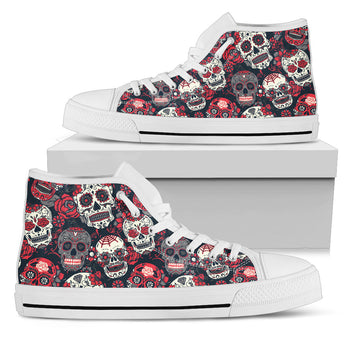 Red & White Sugar Skull High Top Shoes