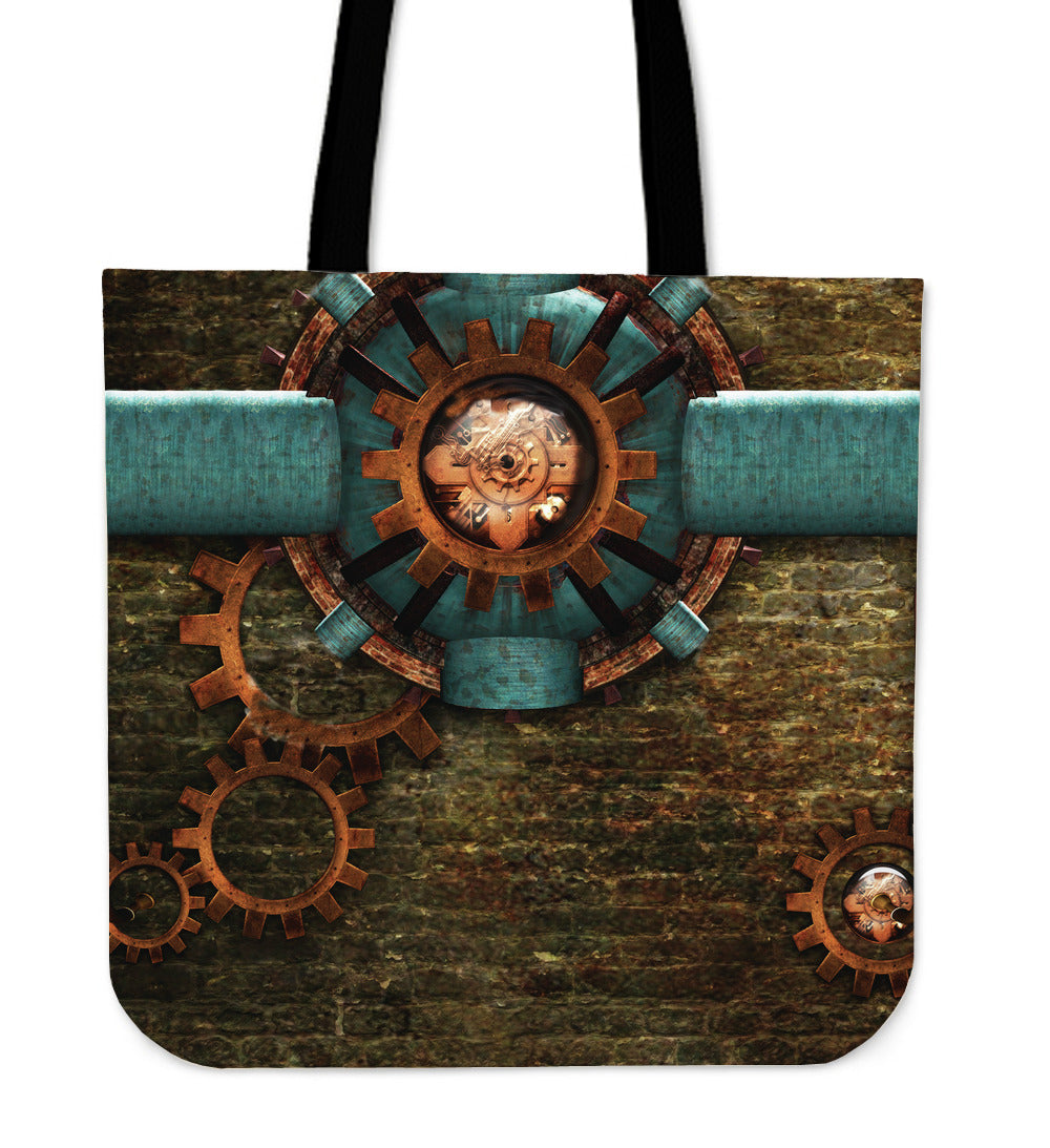 Blue Pipe Steampunk Cloth Tote - Hello Moa