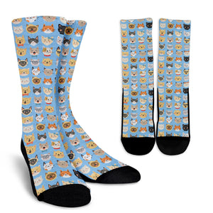 Cat Faces Socks (Blue) - Hello Moa