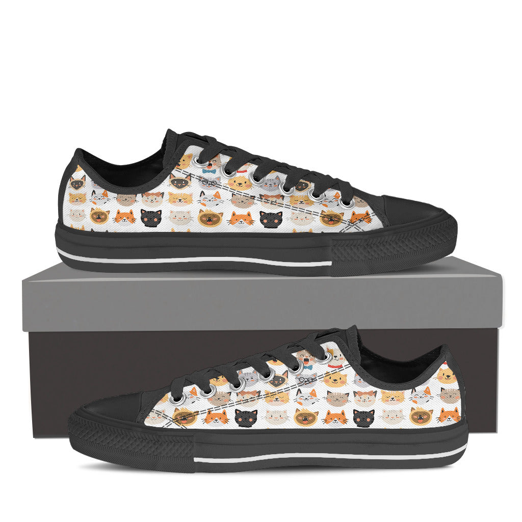 White Cat Faces Low Tops (Women's)
