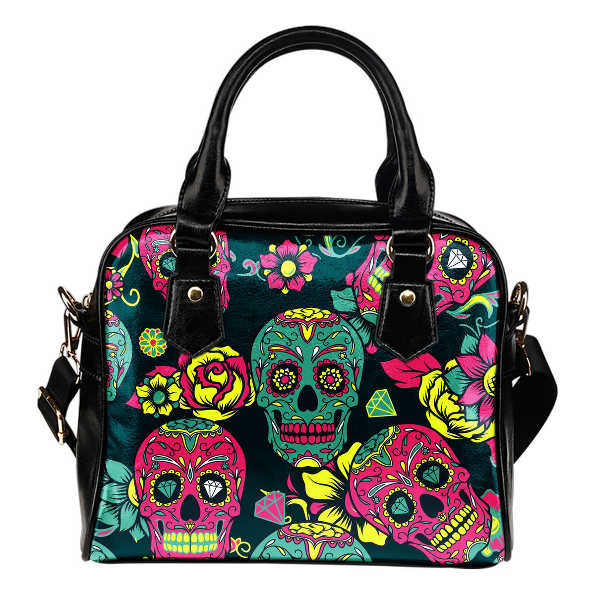 Pink & Green Sugar Skull Shoulder Handbag