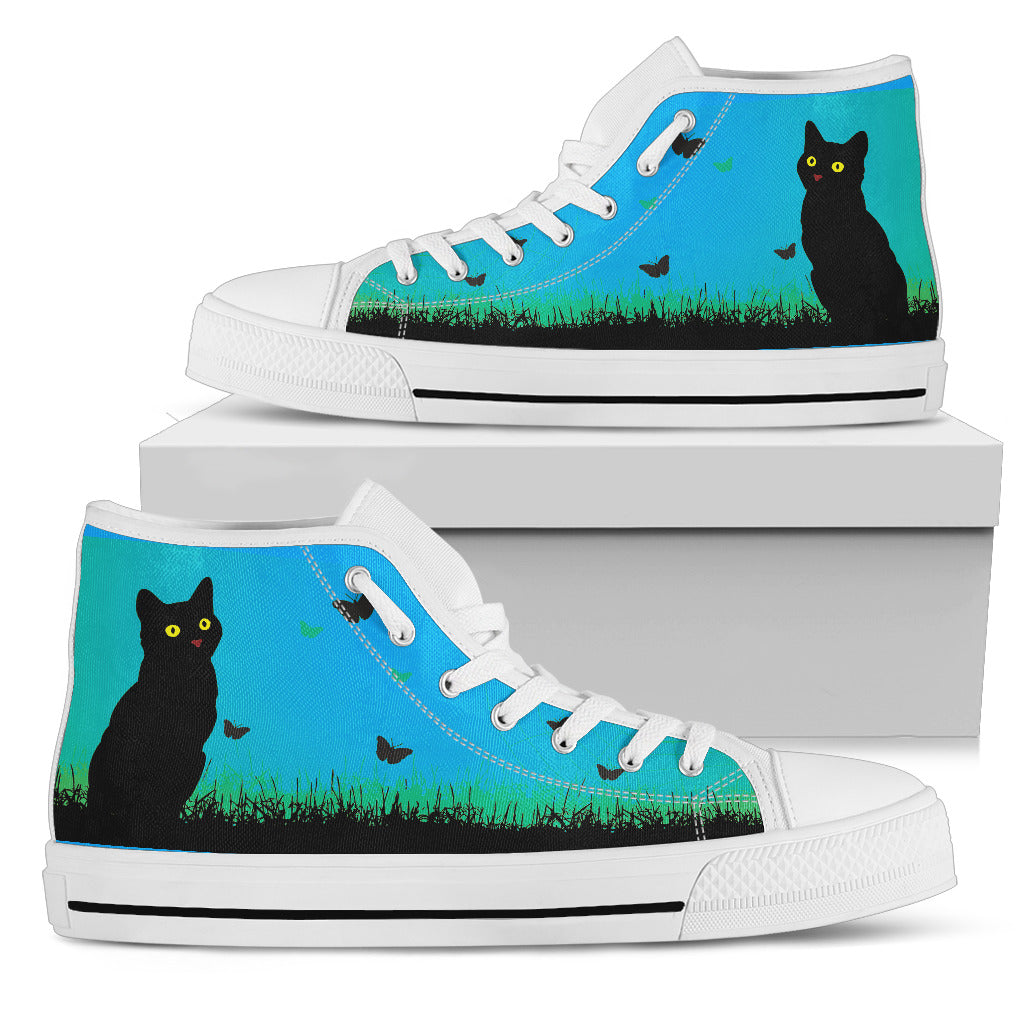 Express Black Cat Blue Sky High Tops (Women's) - Hello Moa