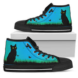 Express Black Cat Blue Sky High Tops (Women's)
