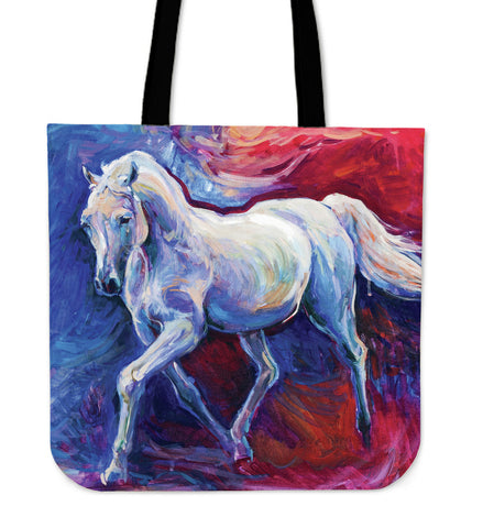 Red & Blue Horse Cloth Tote Bag