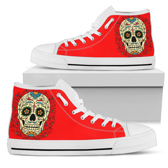 Red Sugar Skull High Top Shoes