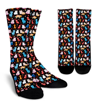 Black Cartoon Cat Socks